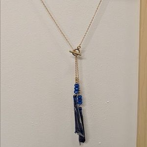 """Gold-Tone Bead & Tassel 32"""" Lariat Necklace"""